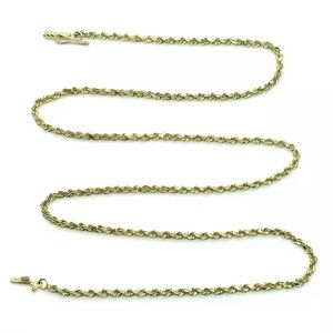 """Solid 10K Yellow Gold 2mm 20"""" Rope Chain Necklace"""